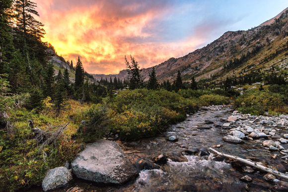 20180910-JAH03400:  An electric sunset in the Grand Teton backcountry, Cascade Canyon.