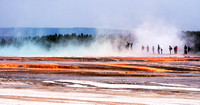 20180912-JAH04031:  Tourists catch some steam coming off Grand Prismatic Spring in Yellowstone NP.