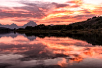20180908-JAH02581:  Firey sunset over Oxbow Bend in Grand Teton National Park.