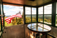 20180819-JAH01842: Inside the cabin of the Stillwater fire observation tower, Adirondacks NY.