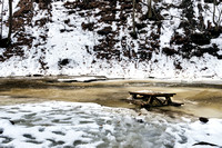 20190204-JAH06411: A picnic table gets swept into Grimes Creek in Naples NY.