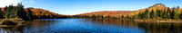 20191008-JAH01707: Wide panorama of Peaked Mountain Pond in the Adirondack mountains of NY.